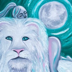 Moon Lion Painting